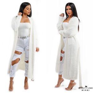 Off White Long Fuzzy Knit Cardigan
